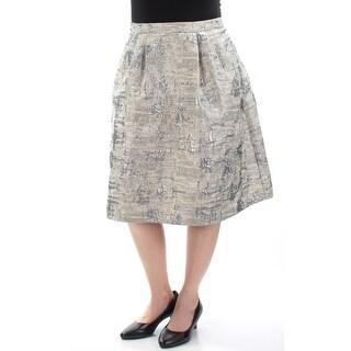 CALVIN KLEIN $110 Womens New 1028 Silver Textured A-Line Skirt 6 B+B