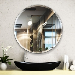 Link to Porch & Den Salix Beveled Frameless 28-inch Round Wall Mirror Similar Items in Mirrors