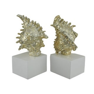 Spiny Whelk Shell Gilded Finish Bookend Set