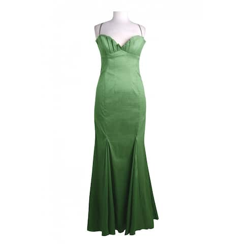 Adrianna Papell Spaghetti Strap Pleated Bust Flutter Dress, Green, 10