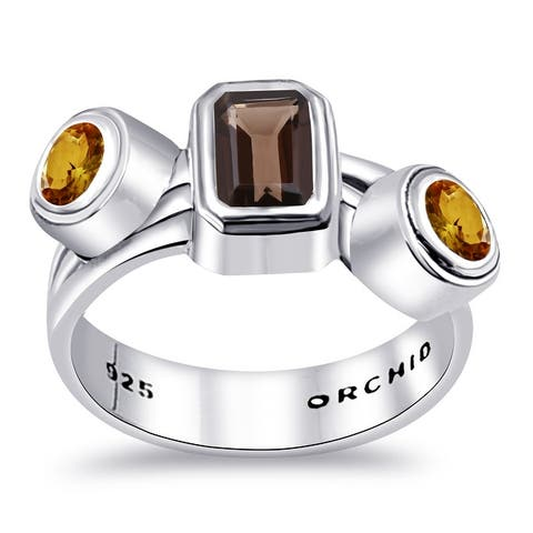 Garnet, Smoky Quartz, Citrine Sterling Silver Octagon, Round 3-Stone Ring by Orchid Jewelry