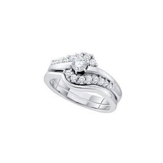 10k Yellow Gold Womens Natural Round Diamond Bridal Wedding Engagement Anniversary Ring 1/2 Cttw - White