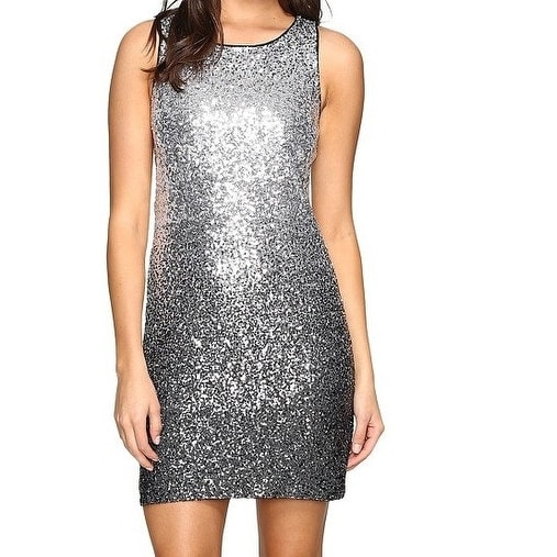 Shop Vince Camuto NEW Silver Women s Size 2 Ombre Sequin Sheath Dress - Free  Shipping Today - Overstock - 20298447 acc334b4edef