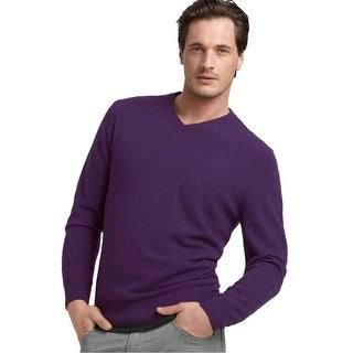 Bloomingdales Mens 2-Ply Cashmere V-Neck Sweater Medium XXL Plum Knitwear