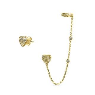 Bling Jewelry Gold Plated 925 Silver CZ Linked Earrings Heart Ear Cuff Set