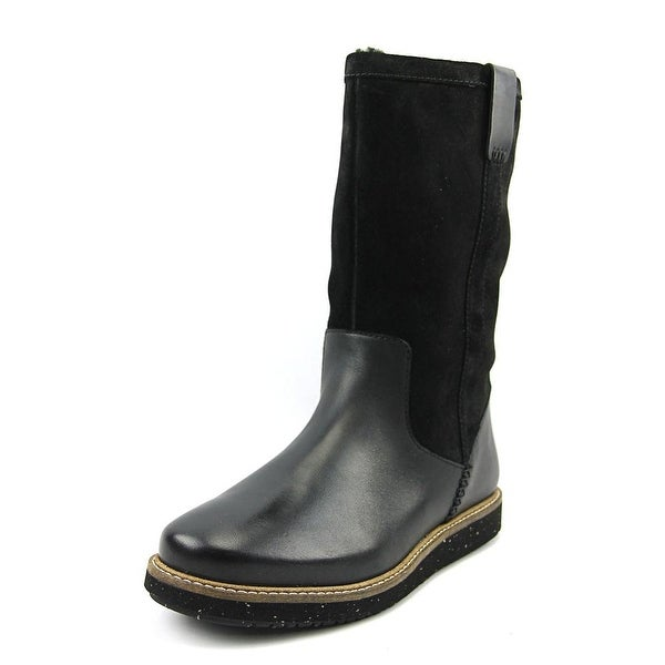 Clarks Narrative Glick Elmfield Women Round Toe Leather Black Winter Boot