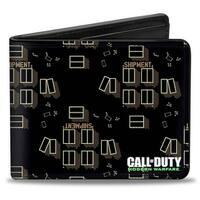 Call Of Duty Modern Warfare Shipment Map Black Tans White Bi Fold Wallet - One Size Fits most