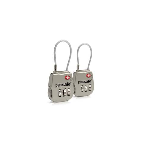 Pacsafe Prosafe 800 - Silver TSA Accepted 3-Dial Cable Lock (2-Pack)