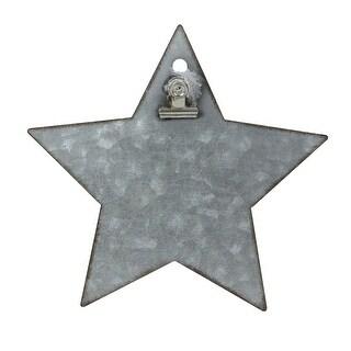 "6.5"" Galvanized Metal Star Christmas Clip Photo Holder Display Stand"