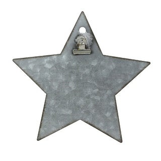 "6.5"" Galvanized Metal Star Christmas Clip Photo Holder Display Stand"