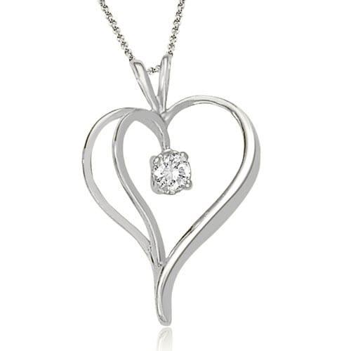 0.30 cttw. 14K White Gold Round Cut Diamond Heart Shape Solitaire Pendant