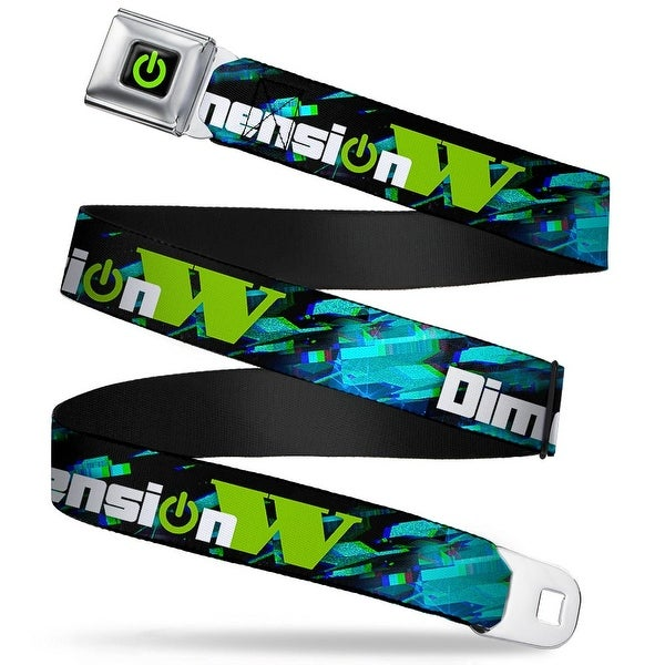 Dimension W Power Logo Full Color Black Green Dimension W Black Blues Seatbelt Belt