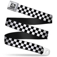 Mopar Logo Full Color Black White Checker Black White Webbing Seatbelt Belt Seatbelt Belt