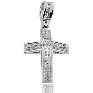 Diamond Cross Pendant 28mm Tall 1/4cttw Pave Set Round Diamonds (i2/i3, I/j) By MidwestJewellery - White