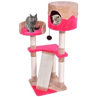 Gymax Pet Furniture Cat Tree Kitten Play House Tower Condo Bed Scratch Post w Toy Ball