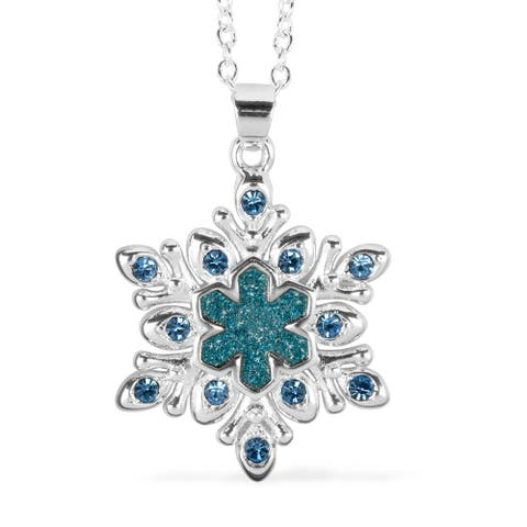Platinum Plated Blue Light Crystal Necklace Pendant Size 16-1 Inch - Size 16-1''
