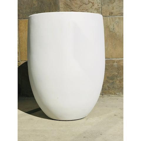 Kante Concrete Outdoor Round Bowl Planter, 21.7 Inch Tall, Pure White