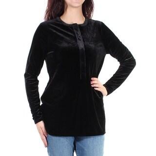 RALPH LAUREN Womens Black Velvet Long Sleeve Jewel Neck Top Size: L