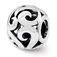 Sterling Silver Reflections Swirl Bali Bead (4mm Diameter Hole)