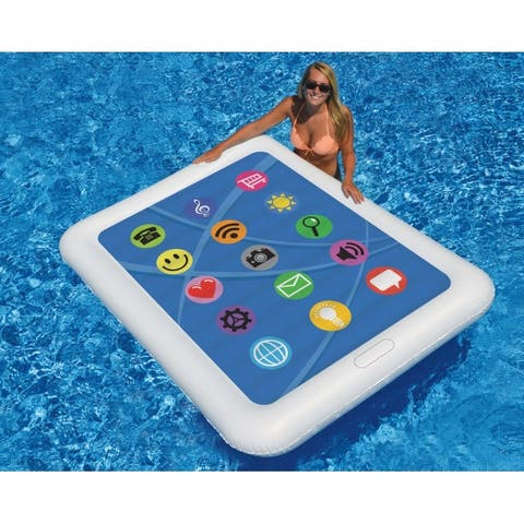 """67"""" Inflatable White and Blue Smart Tablet Novelty Swimming Pool Float"""