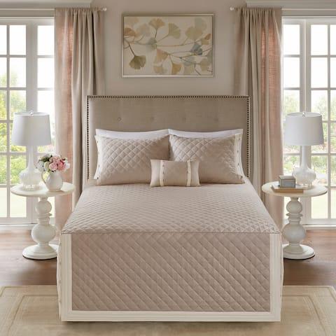 Madison Park Levine Khaki Cotton Percale Tailored 4-piece Bedspread Set