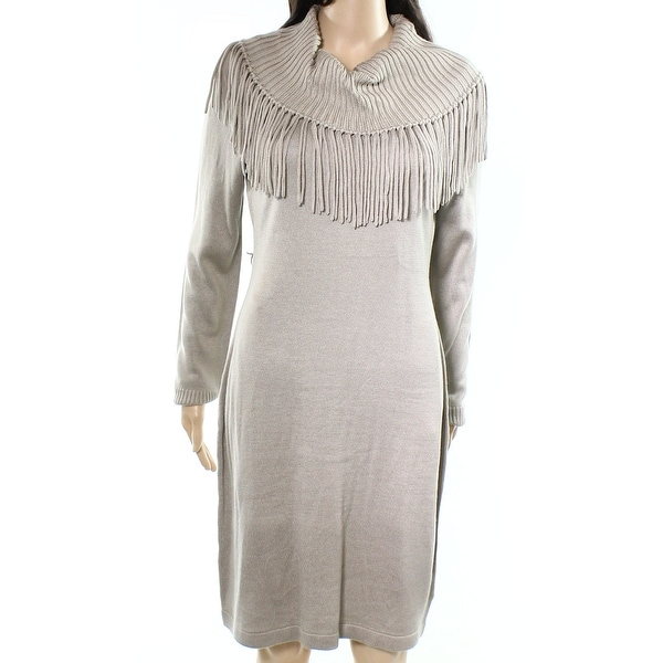 b6652e5b63 Shop Calvin Klein Beige Womens Size XL Fringe Cowl Neck Sweater ...