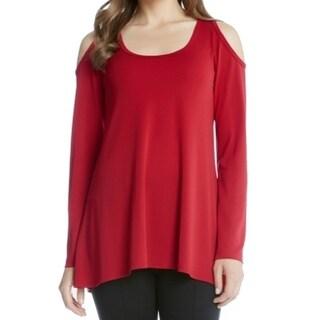 Karen Kane NEW Red Womens Size XL Cold-Shoulder Long-Sleeve Blouse