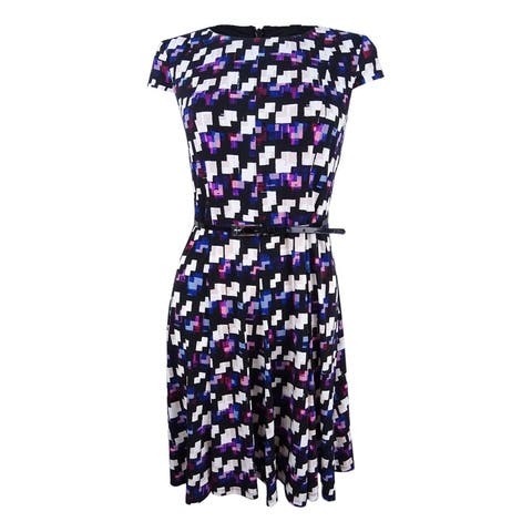 Jessica Howard Women's Petite Belted Geo-Print Dress - Black/Purple
