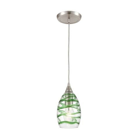 Satin Nickel 1-Light Mini Pendant With Clear Glass With Emerald Green Strip -Coastal-Beach Style