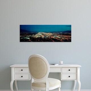 Easy Art Prints Panoramic Images's 'City lit up at night, Salt Lake City, Utah, USA' Premium Canvas Art