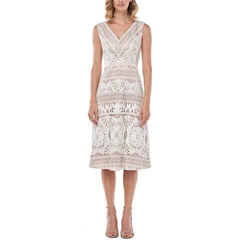Kay Unger Priscilla Chemical Lace Midi Dress