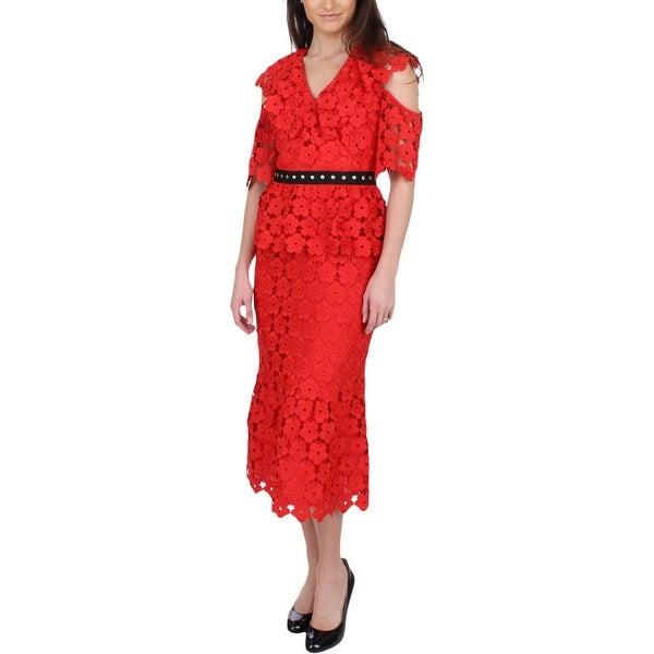 Juicy Couture Black Label Womens Midi Dress Lace Cold Shoulder