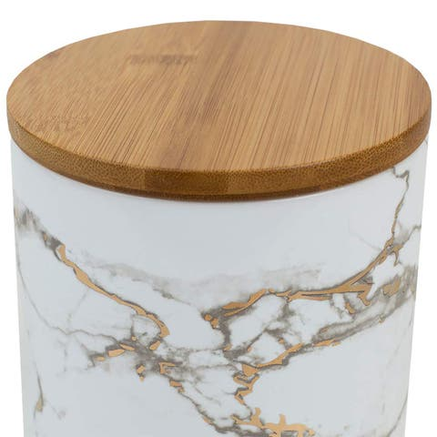 Home Basics Marble Ceramic Food Storage Canister with Bamboo Lid, Medium, White