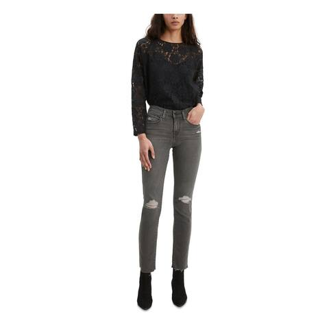 LEVI'S Womens Black Frayed Jeans Size 14