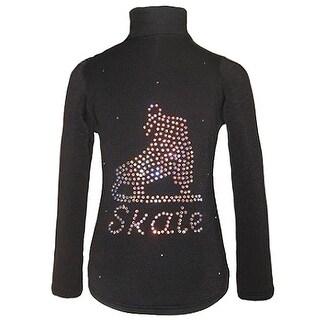 Ice Fire Skate Wear Black Crystal Skate Detail Jacket Girls 4-20