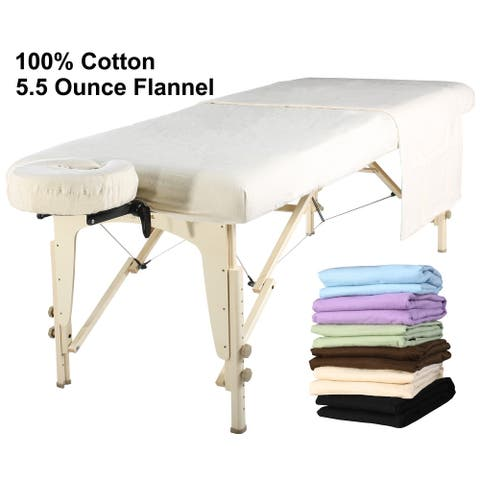 Master Massage 3-piece Flannel Sheet Set Cotton including flat and fitted sheet and face cover (One Set)