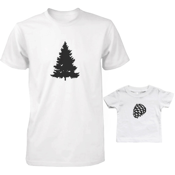 Pine Tree and Cone Dad and Baby Matching T-Shirts