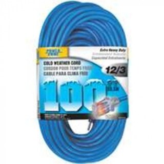 Power Zone ORCW511835 Cord 100' 12/3 Glacier, 15 Amp, 125 Volt