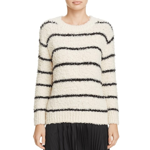 Vince Womens Pullover Sweater Striped Crewneck - Ivory/Black