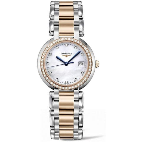 Longines Women's L8.112.5.89.6 'PrimaLuna' Two-Tone 18kt Rose Gold Stainless Steel Watch - Silver