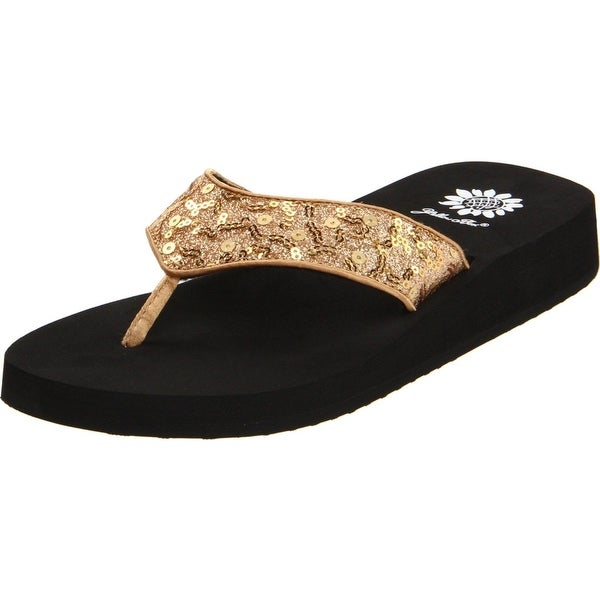 Yellow Box Women's Melinda Flip Flop - Gold - 6 b(m) us