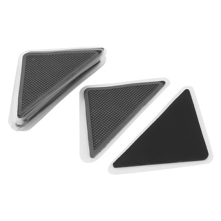 Rubber Triangle Reusable Nonslip Floor Mat Rug Carpet Grip Pad Black 12pcs