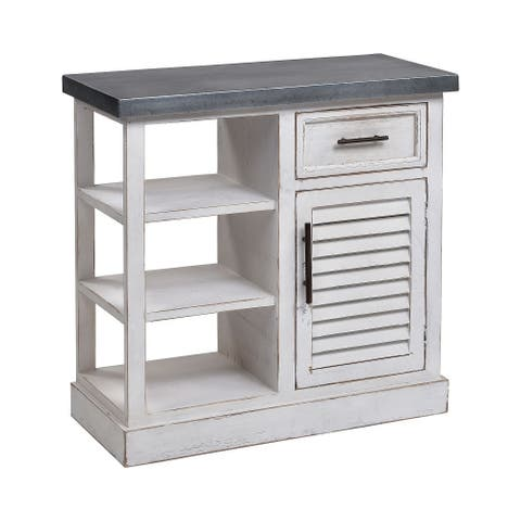 """31.5"""" White Small Antique Ballintoy Cabinet In Galvanized Steel"""