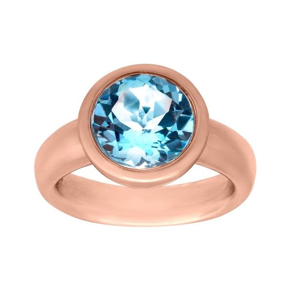 4 3/8 ct Sky Blue Topaz Ring in 18K Rose Gold-Plated Bronze