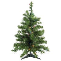 2' Pre-Lit Natural Two-Tone Pine Artificial Christmas Tree - Multi-Color Lights - Green