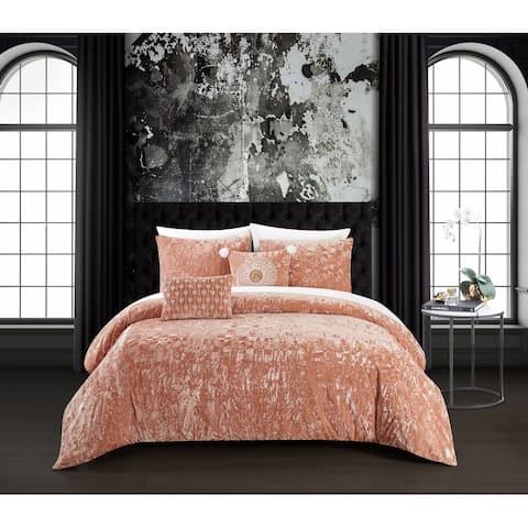 Chic Home Kiana 5 Piece Textured Crinkle Velvet Design Comforter Set, Blush