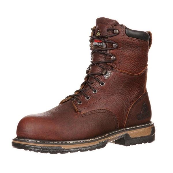 "Rocky Work Boots Mens 8"" Ironclad Waterproof Slip Brown"