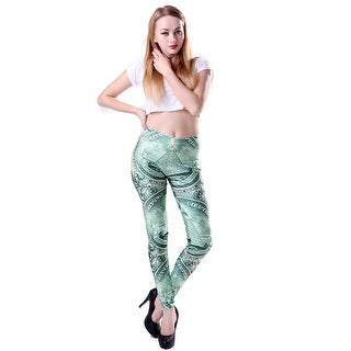 Fashion Lady Pattern Printed All About the Benjamins Stretch Tight Leggings Skinny Pants