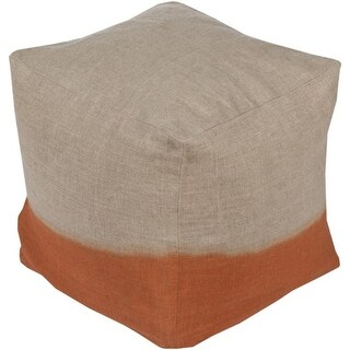 "18"" Beige and Burnt Orange Two-Tone Print Square Wool Pouf Ottoman"