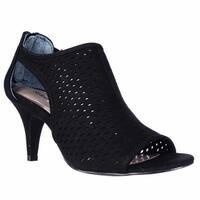 SC35 Haddiee Perforated Caged Peep Toe Heels, Black